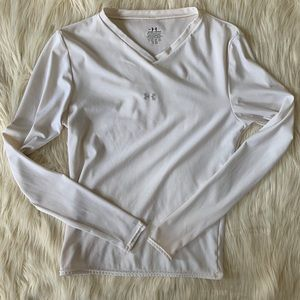 Under Armour Long Sleeve V-neck, White, Size M